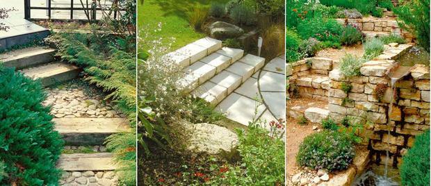 różne schody ogrodowe